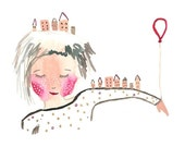 Home watercolor print painting girl illustration red balloon houses