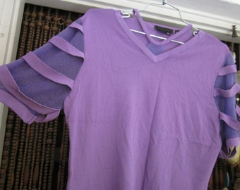 Fabulous Unique Short Sleeves Shirt in Violet/Purple, Vintage - Large to XLarge
