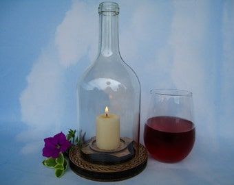 "Wine Bottle Chimney with 2"" Vanilla Scented Candle & Laser Engraved Wooden Base"