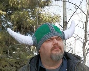 Viking Hat, Horned Helm, Crochet Made to Order