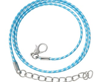 "30 BLUE and WHITE Wax Rope Cord Necklaces with Lobster Clasps, 17"" to 19"" with extender chain, cor0054"