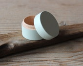 Mint Green Wooden Box / Ring Bearer Box / Round Ring Box / Proposal Ring Box