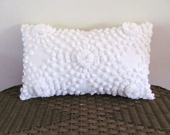 White chenille pillow cover, 12 X 20 inches, shabby cottage chic cushion cover, white pillow case, white beach house cushion cover