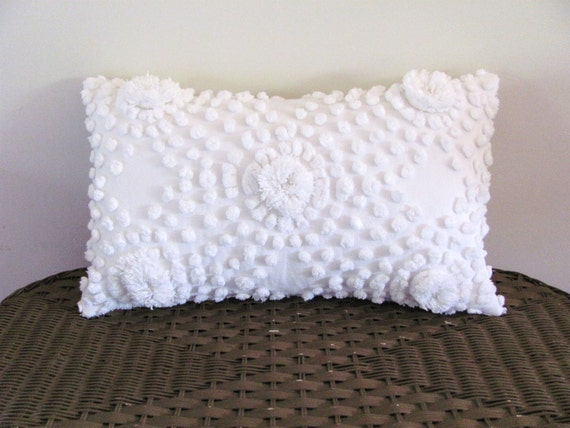 Shabby Chic Chenille Pillows : White chenille pillow cover 12 X 20 inches shabby cottage