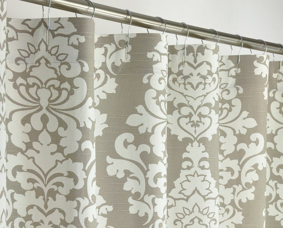 96 long taupe damask shower curtain 72 x 96 long by pondlilly. Black Bedroom Furniture Sets. Home Design Ideas