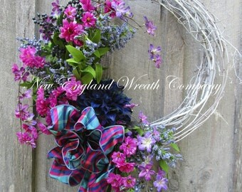 Spring Wreath, Easter Wreath, Floral Wreath, Designer Floral, Victorian Garden, Country French, Elegant Floral,  Cottage Wreath
