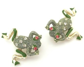 Vintage Scatter Pins Articulated Frogs Book Piece
