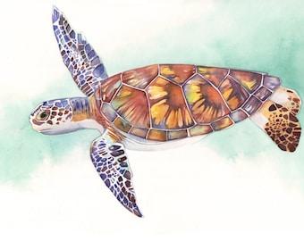 Sea Turtle ORIGINAL Watercolor Painting