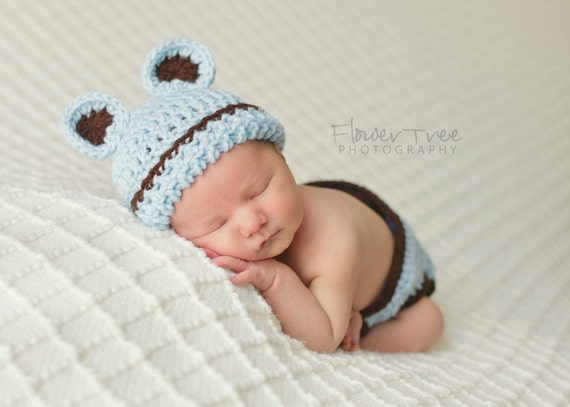 Newborn Bear Hat, Blue Newborn Hat, Baby Boy Hat, Teddy Bear Hat, Newborn Photo Prop, Infant Boy Hat, Baby Bear Set, Bear Hat