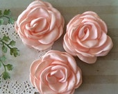 "Blush Fabric Flowers - Small 2.25"" - 5.5cm Soft Satin Rose flowers wedding embellishment baby headband applique wholesale flower Heather"