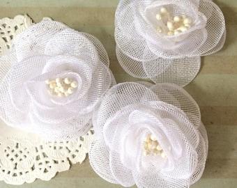 "White Fabric Flowers - Small 2.5"" Sheer Shimmer Tulle Rose flowers wedding embellishment baby headband applique wholesale flower Bailee"