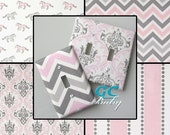 Bella Pink & White Premier Light Switch and Outlet Covers - 8 Different Patterns - Rocker, Decorator, Toggle, Pole, Duplex, Plug