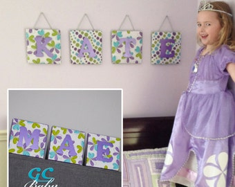 Purple Turquoise Green Fabric Upholstered Letter Wall Plaque, Flowers and Polka Dot, Personalized Name, Baby Nursery, Girl Room Decor