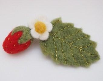 Needle Felted Cute Little Strawberry Brooch.