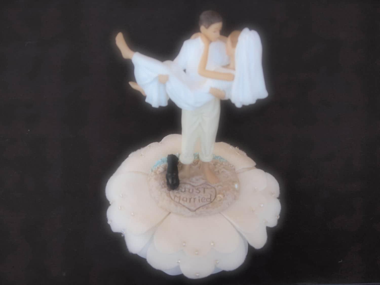Cake Topper Wedding Bride and Groom Ivory Dog Dachshund