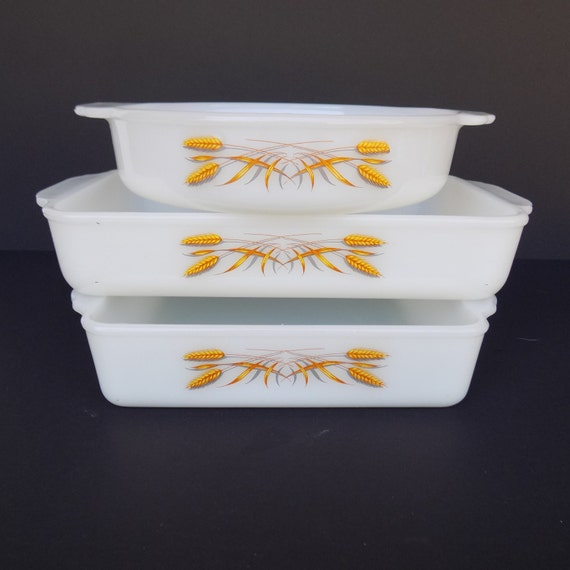 Fire King Utility Baking Dishes Wheat Set Of 3 Round By Vetera