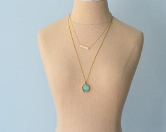 Long Necklace, Chrysoprase Pendent Necklace, Brass Necklace, Long Brass Necklace,