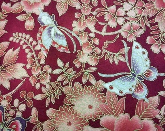 Butterfly and peony, red, gold metallic, fat quarter, pure cotton fabric