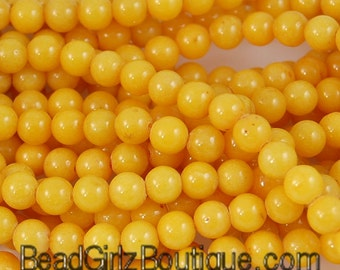 6mm Jade Beads Opaque Deep Lemon Yellow Gold Smooth - 16 inch strand