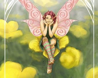 Buttercup Self-Love Flower Fairy Fantasy Art Print by Brandy Woods