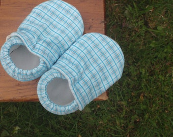 Baby Shoes for Boys - Blue Plaid - Custom Sizes 0-3 3-6 6-12 12-18 18-24 months