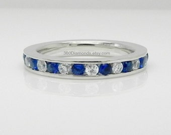 CZ Blue and CZ White Sapphire Eternity Engagement Stack Ring - White Gold Rhodium Plated 925 Sterling Silver - La Eternidad De Zafiro