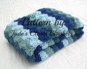 Crochet Baby Blanket Pattern, Instant Download, PDF Pattern, Hues of Blues, Shell Stitch Blanket, Crib size and Travel size included