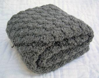 Crochet Baby Blanket, Baby Blanket, Crochet Grey Baby Blanket, Crochet Gray Baby Blanket, Slate Grey, Gray, crib size