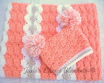 Baby Girl Gift Set, Crochet Peach Baby Crib Blanket and Hat Gift Set, Peaches and Cream, peach, white, and off white