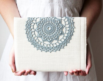 "Tablet 10"" - Crochet lace - iPad - Samsung Galaxy Note 10.1 2014 - Galaxy Tab 10.1 - Custom sizes - White and gray - Rustic - Sony xperia"