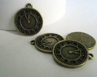 10 Bronze Tone Clock Charms  (1045)