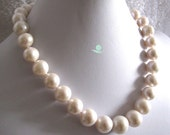 Huge Pearl Necklace -18 Inches 13-16mm White AA Freshwater Pearl Necklace Strand Jewelry- Free Shipping
