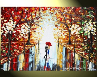 "GICLEE PRINT Art Abstract Painting Couple Red Umbrella Dancing Rain City Park Large Canvas Prints Wall Decor xl Sizes to 60"" - Christine"