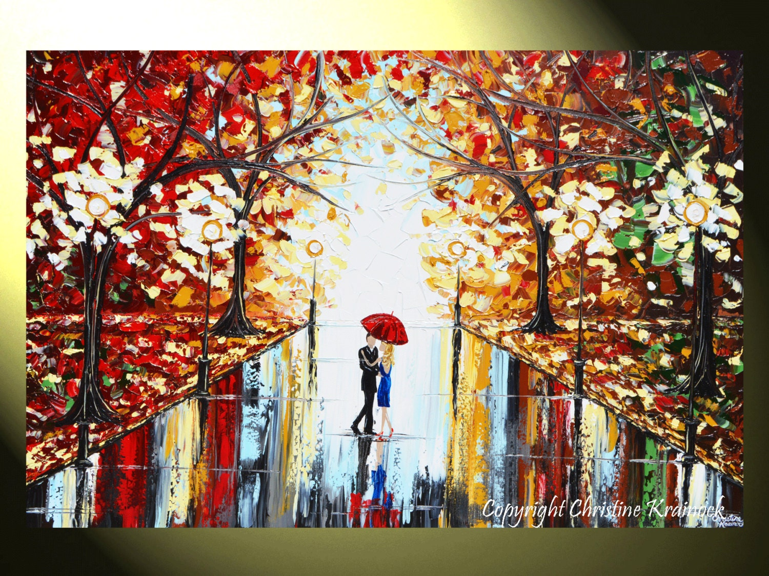 Giclee print art abstract painting couple red umbrella dancing for Painting red umbrella