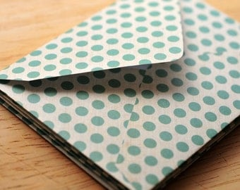 SALE-Turquoise Polka Dot Mini Cards, Set of 4, Blank Cards, Enclosure Cards, Love Note, Thank You Card