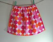 Girls Skirt Twirl Skirt Pink Dots Big Dots Pink Orange Ready to Ship!