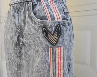 Vintage Denim Skirt . 1980's Acid Wash Skirt . Military Skirt SERGIO VALENTE Waist Sizes 24, 26 DEADSTOCK