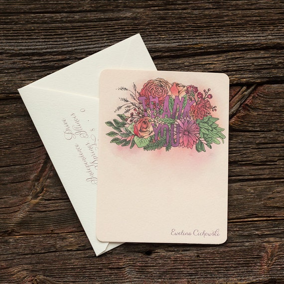 Bridal Shower Watercolor Thank You Notes
