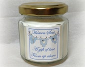 Boy Baby Shower Favor, Four ounce soy candle, Blue and White, Custom Fragrance, Heaven Sent