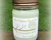 Cucumber Mint Soy Candle, 12 ounce jar with daisy cut lid, Hemp or Cotton Wick, Green, White