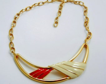 Monet Modernist Enamel Necklace Signed Red and Ivory on Gold Tone