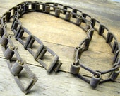 Rusty Old Industrial Farm Salvage Metal Circle Band Belt Chain