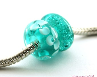 Set of 2  BHB teal  bubble flower Glass  Handmade Lampwork Beads Fits Troll Biagi / big hole beads