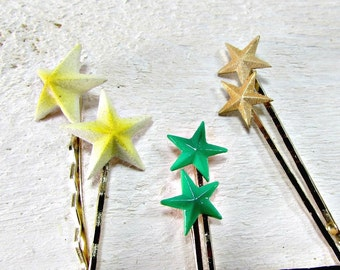 Vintage 1950's Star Bobby Pins with Green, Yellow or Gold Enamel (Set of 2)