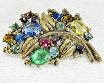 Antique Art Deco Brooch Pin, Fruit Salad Rhinestone Brooch, Gold Leaf Brooch, 1930s Antique Art Deco Jewelry,Great Gatsby Flapper Jewelry