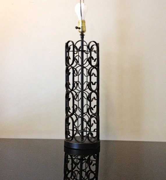 black wrought iron scroll table lamp by modernismus on etsy. Black Bedroom Furniture Sets. Home Design Ideas