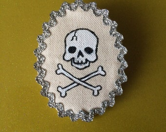 Hand Painted Bad to the Bone Brooch