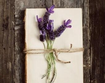 Book art, purple flower art, lavender decor, farmhouse decor, rustic floral art, floral nursery decor, romantic flower art, fine art photo