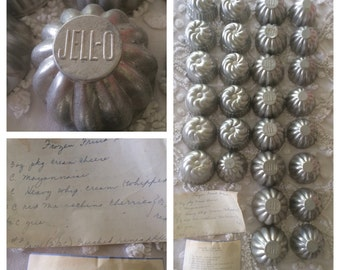 1950s Vintage Miniature Metal Molds Lot: Jell-O, classic Bundt, and Ribbed domes