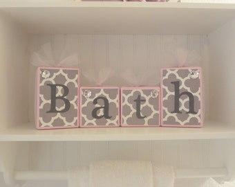 Quatrefoil Home Decor Bathroom Blocks-Light Pink with Light Gray and White with Tulle--Bath-Personalized